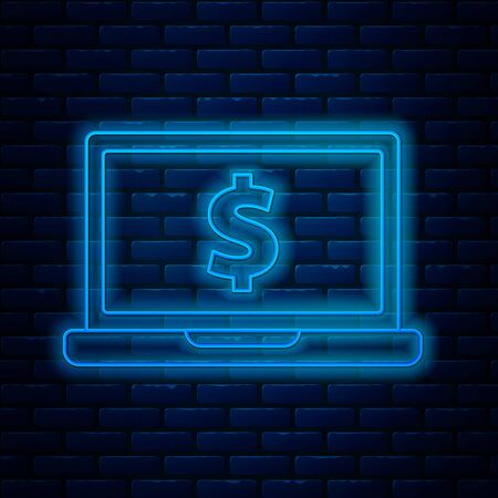 Glowing neon line Laptop with dollar symbol icon isolated on brick wall background. Online shopping concept. Earnings in the Internet, marketing. Vector Illustration