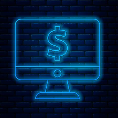 Glowing neon line Computer monitor with dollar symbol icon isolated on brick wall background. Online shopping concept. Earnings in the Internet, marketing. Vector Illustration