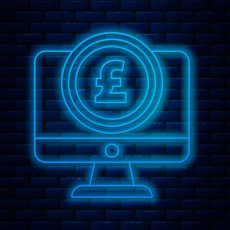 Glowing neon line Computer monitor with pound sterling symbol icon isolated on brick wall background. Online shopping concept. Earnings in the Internet. Vector Illustration