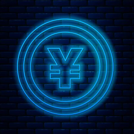 Glowing neon line Coin money with Yen symbol icon isolated on brick wall background. Banking currency sign. Cash symbol. Vector Illustration Ilustracja