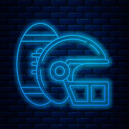 Glowing neon line American Football ball and helmet icon isolated on brick wall background. Set of sport equipment. Vector Illustration