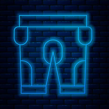 Glowing neon line American football shorts icon isolated on brick wall background. Football uniform sign. Vector Illustration