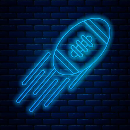Glowing neon line American Football ball icon isolated on brick wall background. Rugby ball icon. Team sport game symbol. Vector Illustration Reklamní fotografie - 133711353