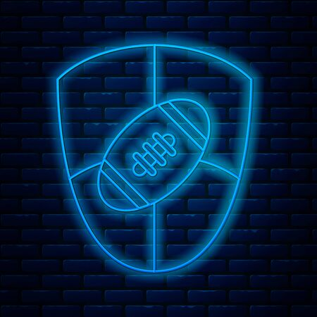 Glowing neon line American Football ball and shield icon isolated on brick wall background. Rugby ball icon. Team sport game symbol. Vector Illustration