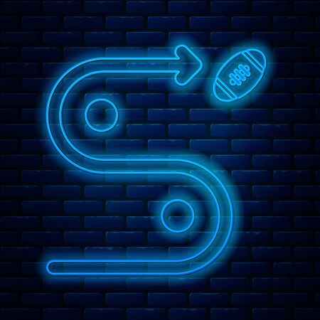 Glowing neon line Planning strategy concept icon isolated on brick wall background. Soccer or american football cup formation and tactic. Vector Illustration