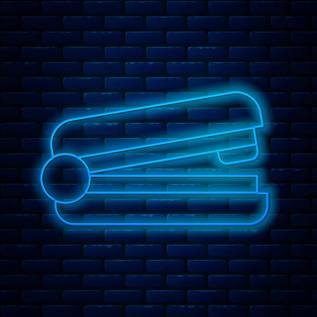 Glowing neon line Office stapler icon isolated on brick wall background. Stapler, staple, paper, cardboard, office equipment. Vector Illustration Illustration