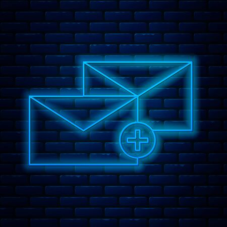 Glowing neon line Envelope icon isolated on brick wall background. Received message concept. New, email incoming message, sms. Mail delivery service. Vector Illustration Stock Illustratie