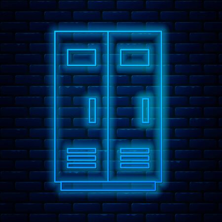 Glowing neon line Locker or changing room for football, basketball team or workers icon isolated on brick wall background. Vector Illustration
