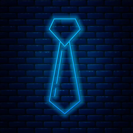 Glowing neon line Tie icon isolated on brick wall background. Necktie and neckcloth symbol. Vector Illustration