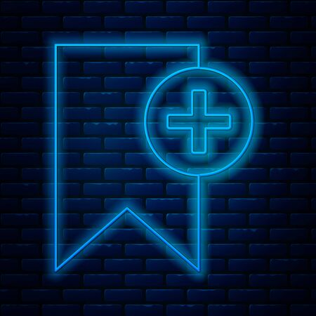 Glowing neon line Bookmark icon isolated on brick wall background. Add to concept. Vector Illustration