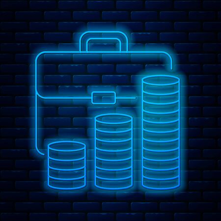 Glowing neon line Briefcase and coin icon isolated on brick wall background. Business case sign. Business portfolio. Vector Illustration