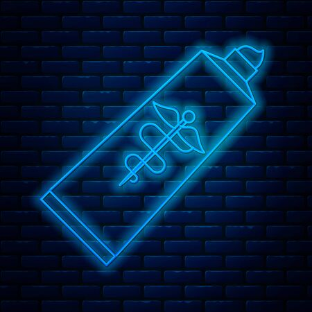 Glowing neon line Ointment cream tube medicine icon isolated on brick wall background. Tube, container, toothpaste, cream sign. Vector Illustration