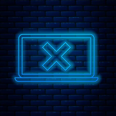 Glowing neon line Laptop and cross mark on screen icon isolated on brick wall background. Error window, exit button, cancel, 404 error page not found concept. Vector Illustration Illustration
