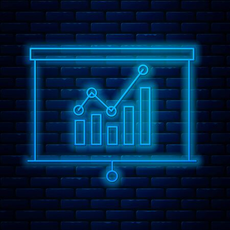 Glowing neon line Board with graph chart icon isolated on brick wall background. Report text file icon. Accounting sign. Audit, analysis, planning. Vector Illustration