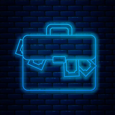 Glowing neon line Briefcase and money icon isolated on brick wall background. Business case sign. Business portfolio. Vector Illustration