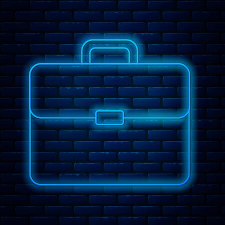Glowing neon line Briefcase icon isolated on brick wall background. Business case sign. Business portfolio. Vector Illustration
