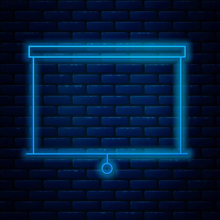 Glowing neon line Chalkboard icon isolated on brick wall background. School Blackboard sign. Vector Illustration