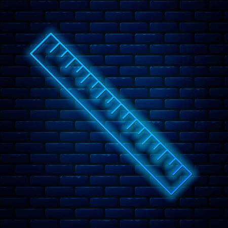 Glowing neon line Ruler icon isolated on brick wall background. Straightedge symbol. Vector Illustration Ilustração