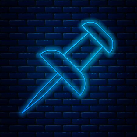 Glowing neon line Push pin icon isolated on brick wall background. Thumbtacks sign. Vector Illustration