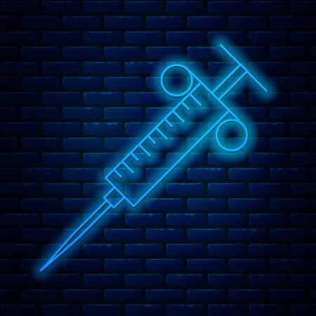 Glowing neon line Syringe icon isolated on brick wall background. Syringe for vaccine, vaccination, injection, flu shot. Medical equipment. Vector Illustration Ilustração