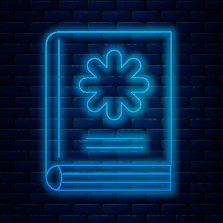 Glowing neon line Medical book icon isolated on brick wall background. Vector Illustration Illusztráció