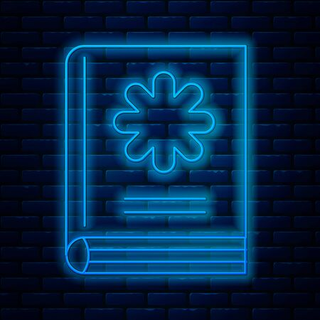 Glowing neon line Medical book icon isolated on brick wall background. Vector Illustration Illustration
