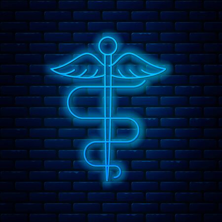 Glowing neon line Caduceus snake medical symbol icon isolated on brick wall background. Medicine and health care. Emblem for drugstore or medicine, pharmacy. Vector Illustration