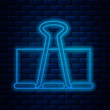 Glowing neon line Binder clip icon isolated on brick wall background. Paper clip. Vector Illustration