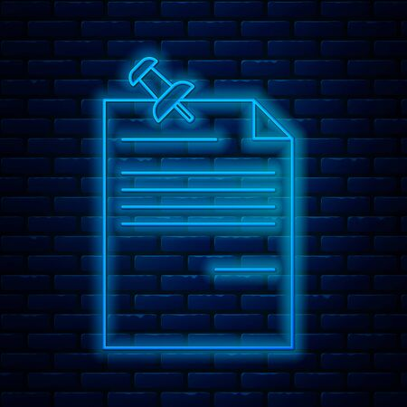 Glowing neon line Note paper with pinned pushbutton icon isolated on brick wall background. Memo paper sign. Vector Illustration