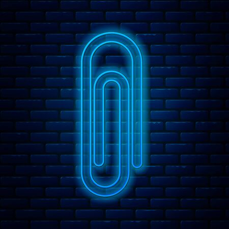 Glowing neon line Paper clip icon isolated on brick wall background. Vector Illustration Illustration