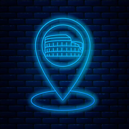 Glowing neon line Map pointer with Coliseum in Rome, Italy icon isolated on brick wall background. Colosseum sign. Symbol of Ancient Rome, gladiator fights. Vector Illustration