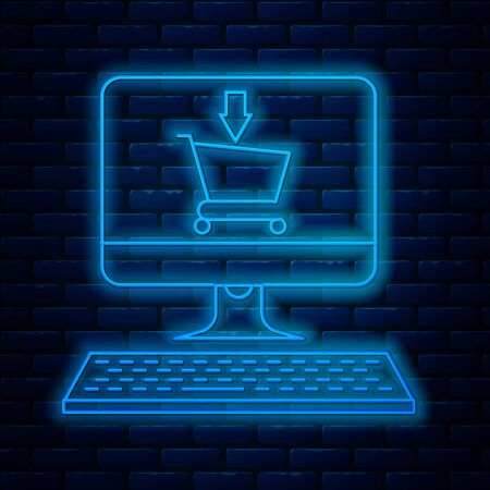 Glowing neon line Shopping cart on screen computer icon isolated on brick wall background. Concept e-commerce, e-business, online business marketing. Vector Illustration