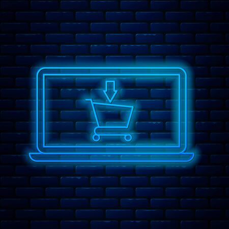 Glowing neon line Shopping cart on screen laptop icon isolated on brick wall background. Concept e-commerce, e-business, online business marketing. Vector Illustration Illustration