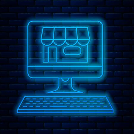 Glowing neon line Shopping building on screen computer icon isolated on brick wall background. Concept e-commerce, e-business, online business marketing. Vector Illustration