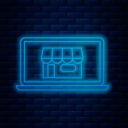 Glowing neon line Shopping building on screen laptop icon isolated on brick wall background. Concept e-commerce, e-business, online business marketing. Vector Illustration Illustration