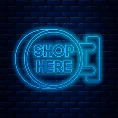Glowing neon line Signboard hanging with an inscription shop here icon isolated on brick wall background. Suitable for advertisements bar, cafe, pub, restaurant. Vector Illustration