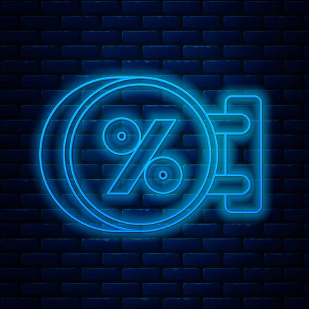 Glowing neon line Signboard hanging with an inscription discount percent icon isolated on brick wall background. Suitable for bar, cafe, pub, restaurant. Vector Illustration
