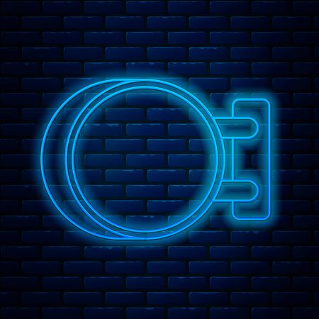 Glowing neon line Signboard hanging icon isolated on brick wall background. Suitable for advertisements bar, cafe, pub, restaurant. Vector Illustration Ilustração