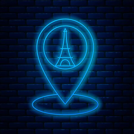 Glowing neon line Map pointer with Eiffel tower icon isolated on brick wall background. France Paris landmark symbol. Vector Illustration Archivio Fotografico - 133713108