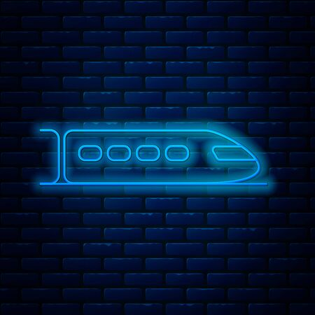 Glowing neon line Train icon isolated on brick wall background. Public transportation symbol. Subway train transport. Metro underground. Vector Illustration Stock Illustratie