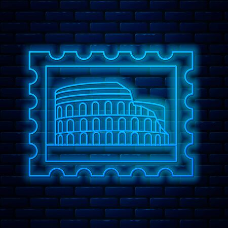 Glowing neon line Postal stamp and Coliseum icon isolated on brick wall background. Colosseum sign. Symbol of Ancient Rome, gladiator fights. Vector Illustration