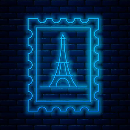 Glowing neon line Postal stamp and Eiffel tower icon isolated on brick wall background. Vector Illustration Archivio Fotografico - 133713265