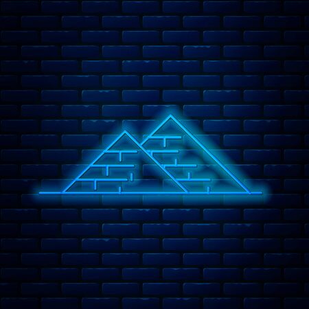 Glowing neon line Egypt pyramids icon isolated on brick wall background. Symbol of ancient Egypt. Vector Illustration