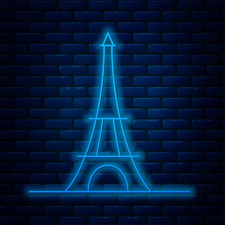 Glowing neon line Eiffel tower icon isolated on brick wall background. France Paris landmark symbol. Vector Illustration Archivio Fotografico - 133713278