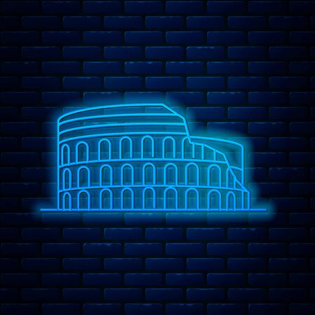 Glowing neon line Coliseum in Rome, Italy icon isolated on brick wall background. Colosseum sign. Symbol of Ancient Rome, gladiator fights. Vector Illustration Ilustrace