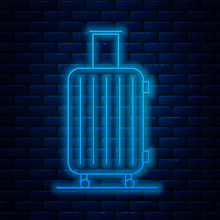 Glowing neon line Suitcase for travel icon isolated on brick wall background. Traveling baggage sign. Travel luggage icon. Vector Illustration Ilustração