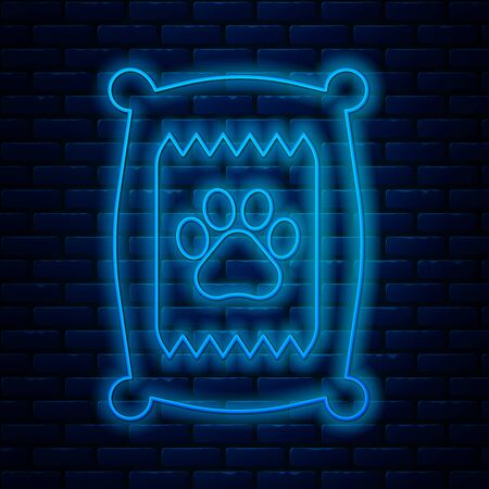 Glowing neon line Bag of food for dog icon isolated on brick wall background. Dog or cat paw print. Food for animals. Pet food package. Vector Illustration