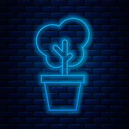 Glowing neon line Tree in pot icon isolated on brick wall background. Houseplant in pots. Natural decor for home and interior. Potted plant sign. Vector Illustration Illustration