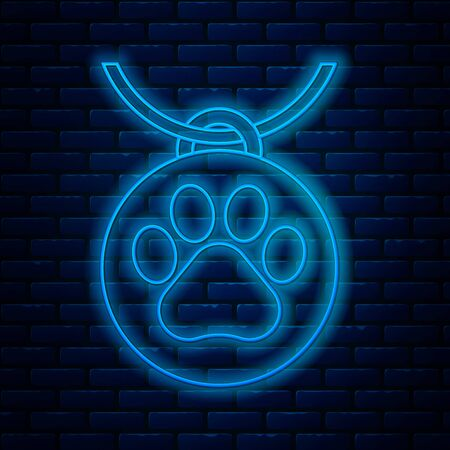 Glowing neon line Collar with name tag icon isolated on brick wall background. Supplies for domestic animal. Dog or cat paw print. Cat and dog care. Pet chains. Vector Illustration