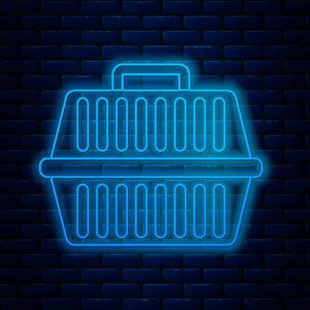 Glowing neon line Pet carry case icon isolated on brick wall background. Carrier for animals, dog and cat. Container for animals. Animal transport box. Vector Illustration Ilustração